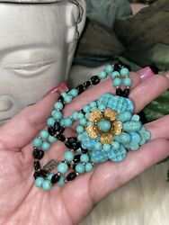Miriam Haskell Early Book Piece Mint Turquoise Glass Flower Bib Necklace A18