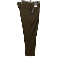 Roundtree And Yorke Travel Smart Classic Fit Pants 38x34 Brown Pleated Cuffed