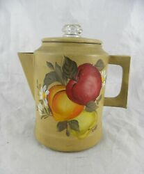 Vintage Tin Metal Toleware Coffee Pot Hand Painted With Fruit-apple Peach Pear
