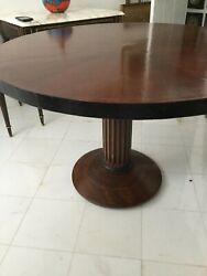Vintage French Round Solid Wood Dinning Or Hall Table Or Decorative Table