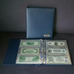 Supersafe Deluxe Blue D-ring Currency Album 20 3 Pocket Pages With Index Storage