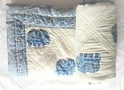 Reversible Home Decor Elephant Block Printed Quilts Handmade Queen Size Coverlet