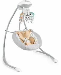 Fisher-price Fawn Meadows Deluxe Cradle And039n Swing Dual Motion Baby Swing With Mu