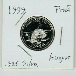 1999 August Pioneer Spirit Canada Sterling Silver Horse Proof Quarter 25 Cents