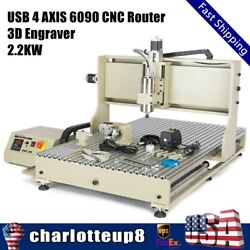 Usb 4 Axis 6090 Cnc Router Engraver Spindle Vfd Drilling Engraving Machine 2.2kw