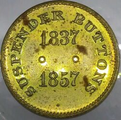 1863 Suspender Buttons S. P. Lincolnand039s Emancipation Token - Very Rare