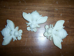 Vintage Set Of 3 Bee Wall Hangers 1970 Burwood Products Company