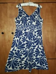 Boden Spring Blue Floral Dress 8 All Cotton Lined Easter Pre-owned