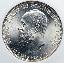 1911 A German States Schaumburg-lippe George Silver 3mark Ngc Coin I91319