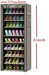 10 Tier Shoe Rack Shelf Standing Closet Cabinet Storage with Cover Grey