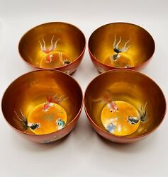 4 Vintage Japanese Lacquer Hand Painted Rice Bowls Dragon Koi Fish Copper Tone