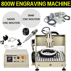 Usb 5 Axis 3040 Cnc Router Engraver Vfd Drill Milling Wood Cutting Machine 800w