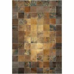 Handmade Couristan Chalet Tile Cowhide Leather Area Rug