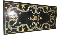 4and039x2and039 Black Marble Dining Table Top Inlay Multi Floral Farm House Art Decor B780