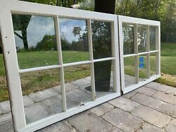 2 - 31 X 25 Vintage Window Top Sashes Old 6 Pane From 1948 Arts And Craft