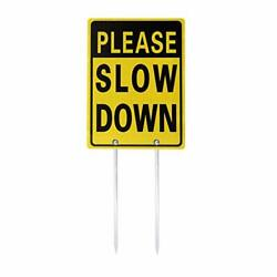 Kichwit Double Sided Please Slow Down Sign Reflective Aluminum Metal Sign Wit...
