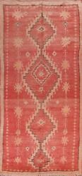 Antique Geometric Tribal Moroccan Oriental Runner Rug Hand-knotted 5and039x12and039 Carpet