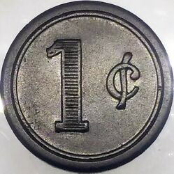 1876 Twist Drill Co 1 Cent Meal Check Black Hard Rubber Token Cleveland Ohio
