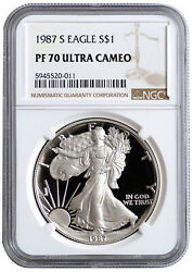 1987 S American Silver Eagle Proof Ngc Pf70 Ultra Cameo 1 Pf 70 Coin