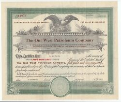 1921 The Out West Petroleum Company Stock Certificate Colorado Wyoming