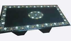 4'x2' Marble Dining Table Top Inlaid Mother Of Pearl With Stand 16 Decors B797