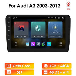 For Audi A3 Android 10 9 8-core 4+64gb Car Stereo Radio Gps Wifi 4glte Dsp Rds