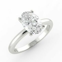 1 Ct Solitaire Diamond Engagement Ring Oval Cut H/si2 950 Platinum