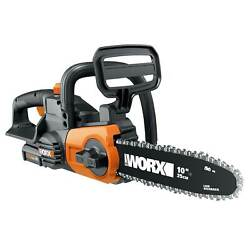 Worx 20v 10 Auto Tension Electric Cordless Chainsaw Tool With Battery And Charger