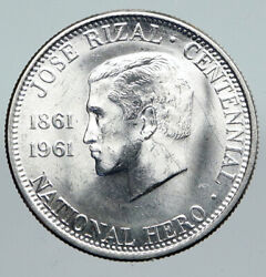 1961 Philippines With Jose Rizal Nationalist Antique Silver 1/2 Peso Coin I91397