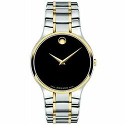 New Movado Serio Black Dial Two Tone Stainless Steel Menand039s Watch 0607284