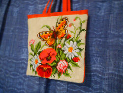 Canvas Tote Bag Floral Butterfly Featuring A Handmade Needlepointorange 16