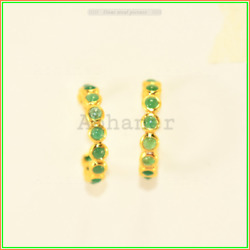 Stud Hoop Earring Gold Plated Emerald Stone 925 Sterling Sliver