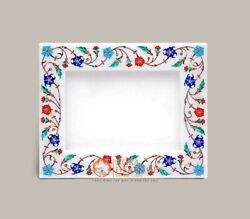 White Collectible Marble Photo Frame For Storage Picture Multi Stone Floral Arts