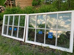 2- 35 X 25-1/4 Large Vintage Window Sash Old 8 Pane From 1947 Arts And Craft