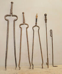 5 Blacksmith Forged Tools 3 Large Tongs Collectible Primitive Fireplace Tool Lot