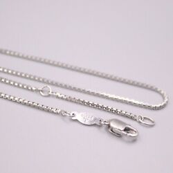 Pt950 Real Platinum 950 Chain For Women Female 1.1mm Box Necklace 18''l Gift