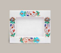 White Marble Collectible Photo Storage Frame Multi Stone Marquetry Floral Design