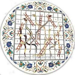 Marble White Custom Dining Table Top Snakes And Ladders Art Best Gift For Her Deco