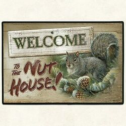 Welcome To The Nut House Squirrel Doormat, Funny Housewarming Gift, Welcome Mat