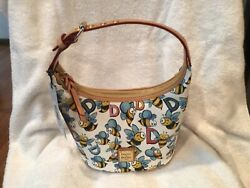 Dooneyamp;Bourke Bumble Bee Coated Cotton amp; Leather Trim Bucket Bag in White NWT $125.00