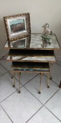 French Neoclassical Nesting Tables Stacking Cluster Bronze Occasionalandnbspfurniture