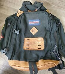 Vtg Jansport Leather Bottom Backpacked Signed By Jan Lewis Black 1997 Patches