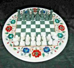 White Marble Chess Board Table Top With Stand Inlaid Mosaic Arts Christmas Gifts