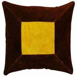 Natural Geo Prolific Leather Suede Brown/yellow Square Yellow, Brown 16 X 16