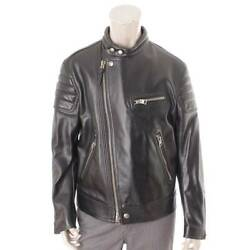 Auth Tom Ford Men's Single Riders Leather Jacket Black 50 117566