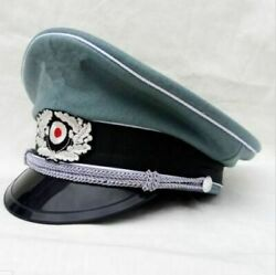 Repro Wwii Ww2 German Army Elite Wool Visor Hat Wh M36 Military Officer Cap New