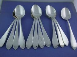 12 Sterling Reed And Barton 6 3/4 Oval Soup Spoons Pointed Antique No Mono Mint