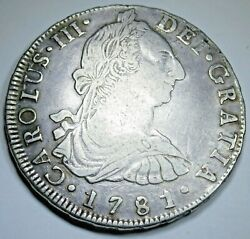 1781 Spanish Bolivia Silver 8 Reales Antique 1700and039s Colonial Dollar Pirate Coin