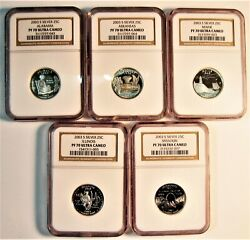 2003 S Set State Quarters Lot Of 5 Graded By Ngc In Pf70 Ultra Cameo