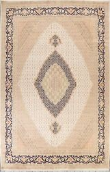 Vegetable Dye Geometric Wool/silk Tebriz Oriental Area Rug Hand-knotted 9and039x12and039